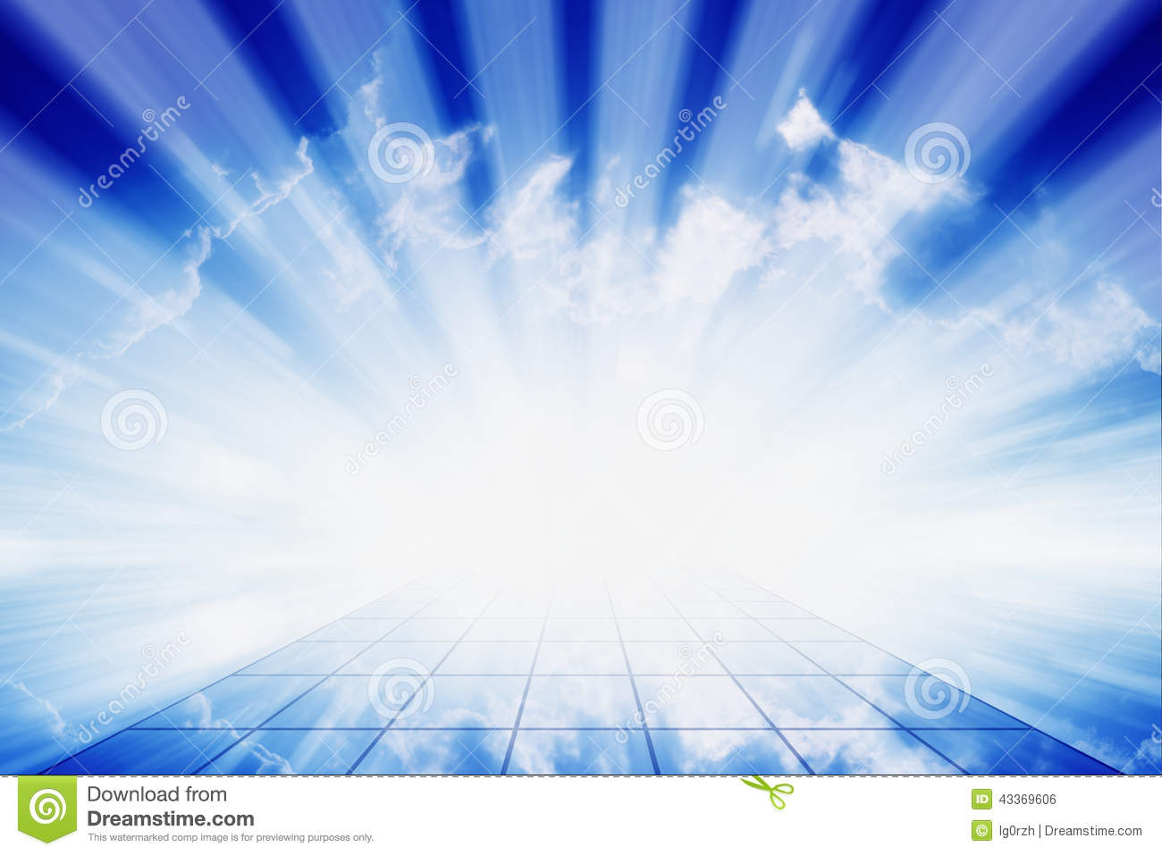 Abstract peaceful background beautiful blue sky bright beams way
