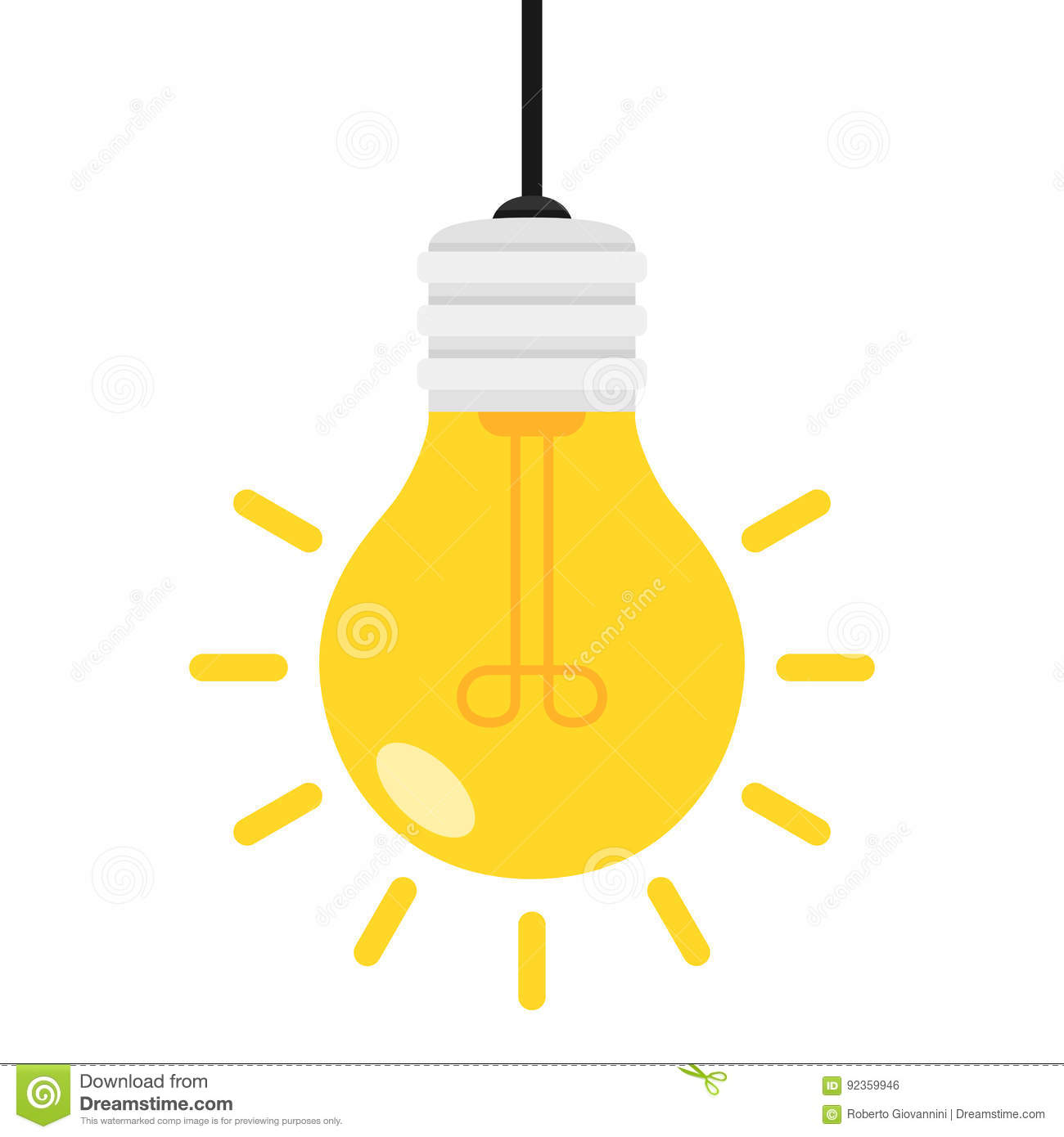 Bright Light Bulb Flat Icon Isolated on White