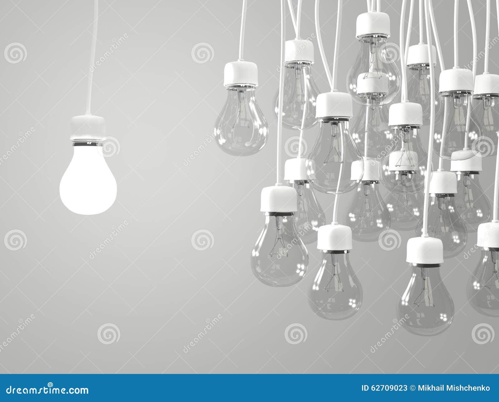 Bright Light Bulb With Regular Light Bulbs Stock Illustration Image 62709023