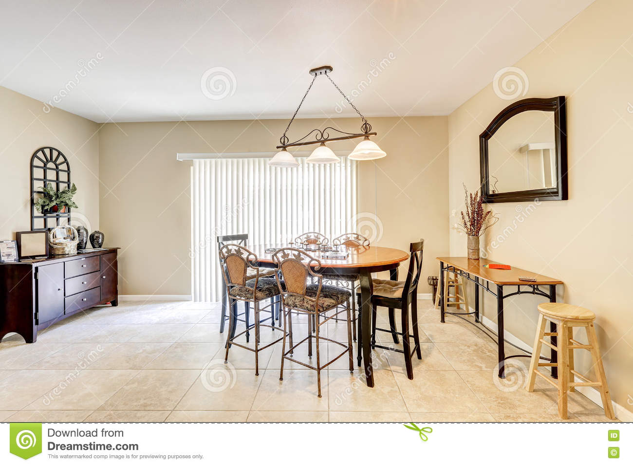 Bright And Light Dining Room With Bar Style Chairs Tile Floor