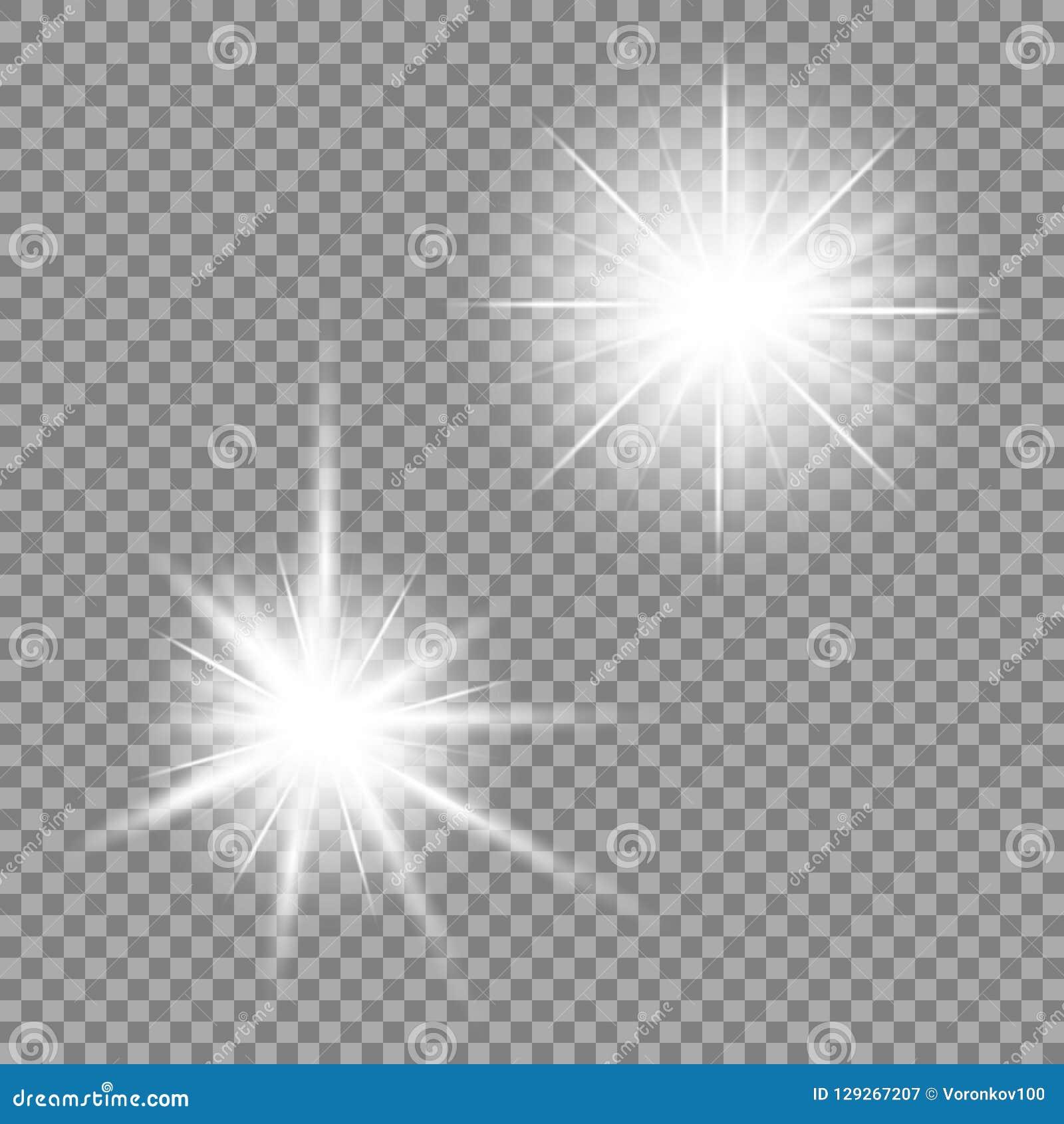 Bright light glare on a transparent background. Vector illustration for your design.