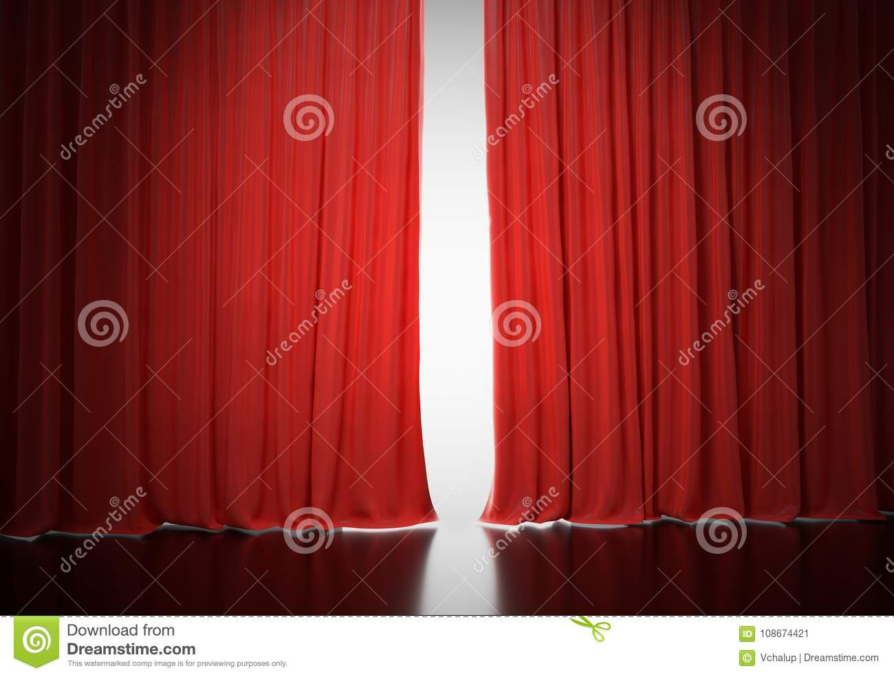 Download Bright Light Shining Behind Red Curtains In Theatre 3D Rendered Illustration Stock