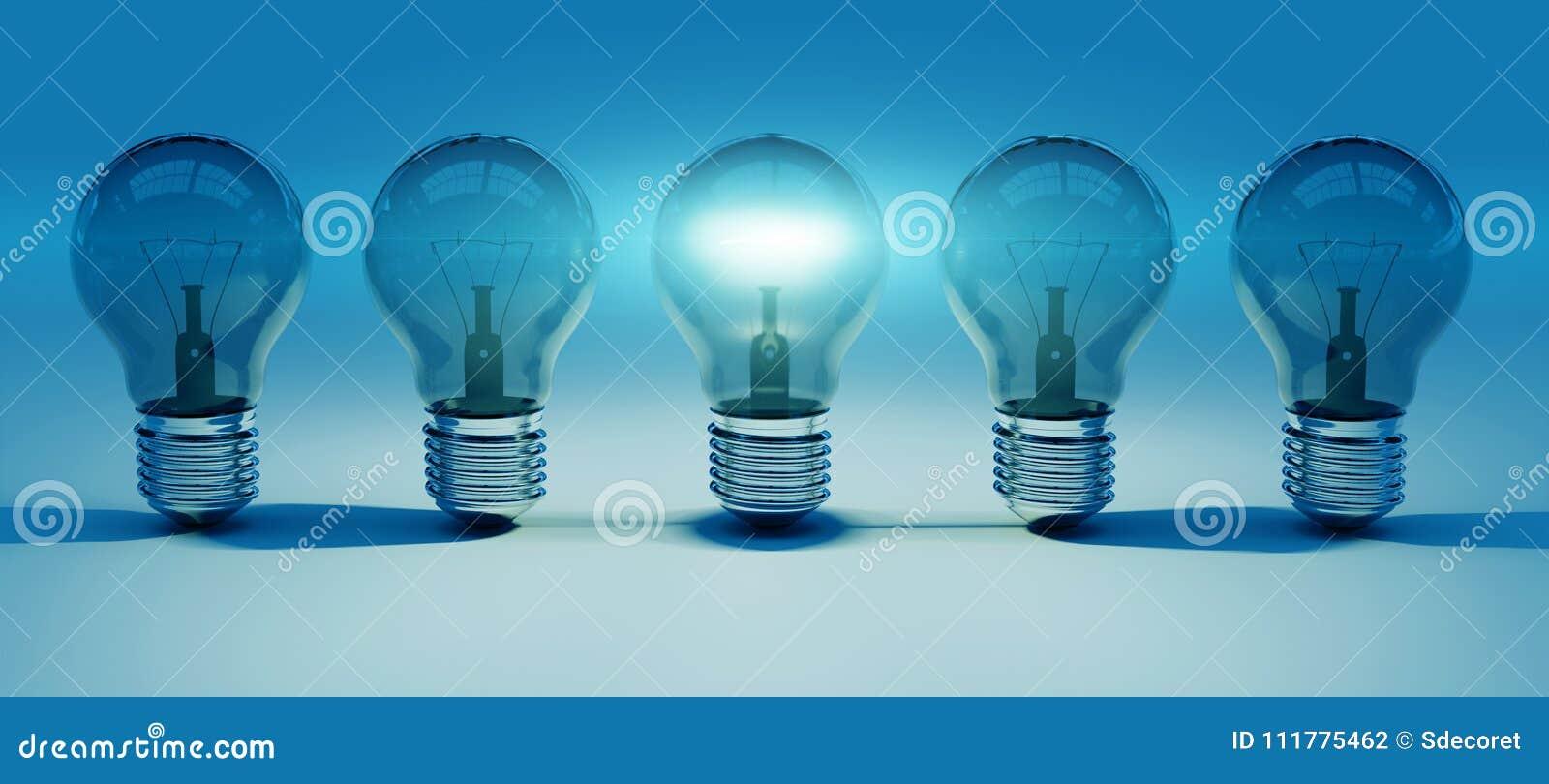 Bright lightbulbs lined up 3D rendering