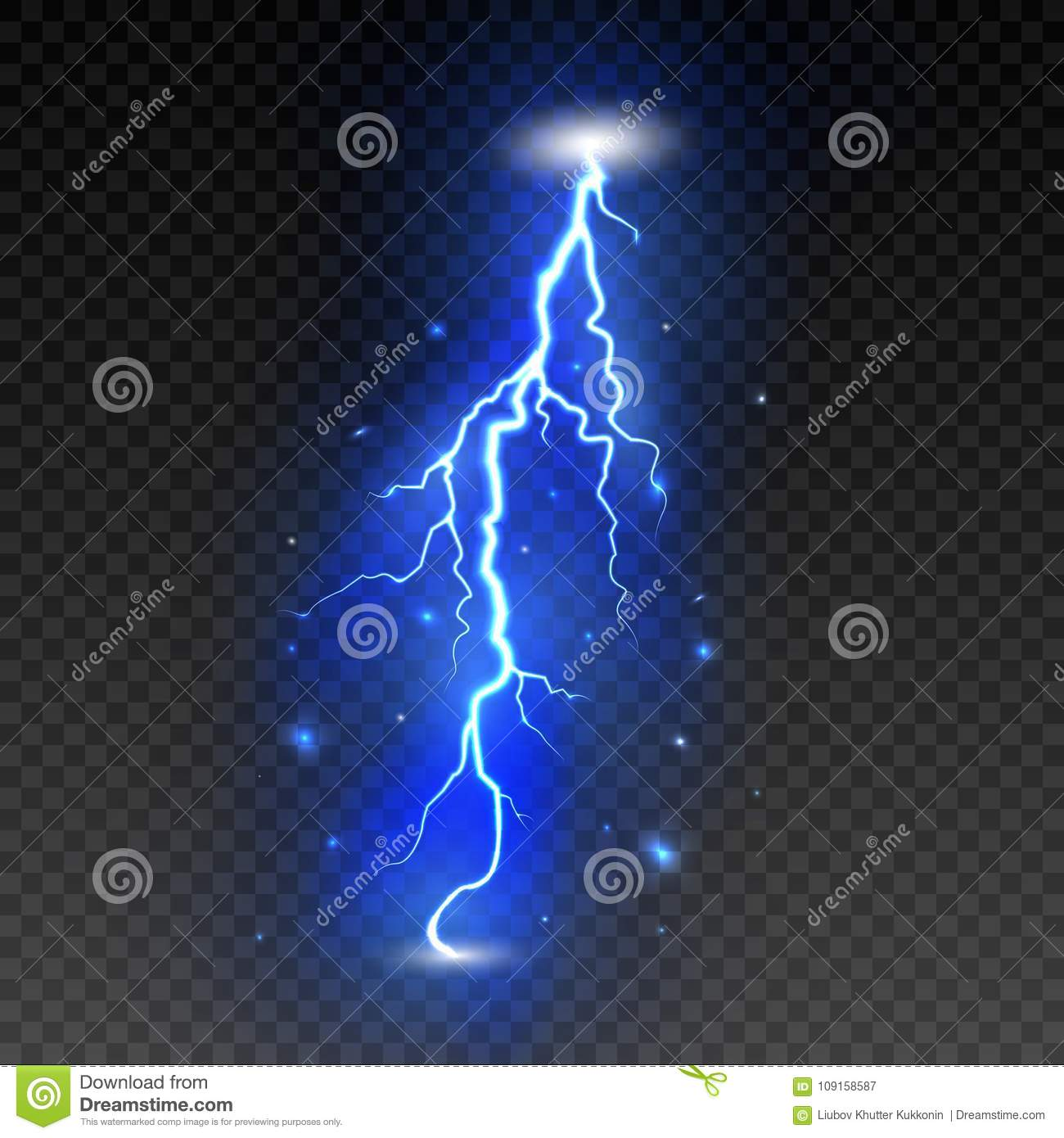 Bright Lightning On Transparent Background  Electric Flash