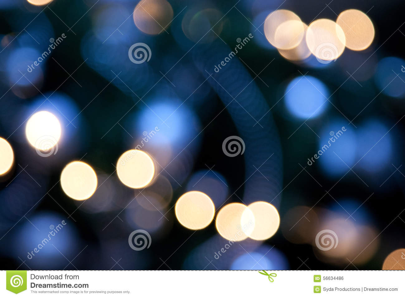 Bright lights on dark blue night background