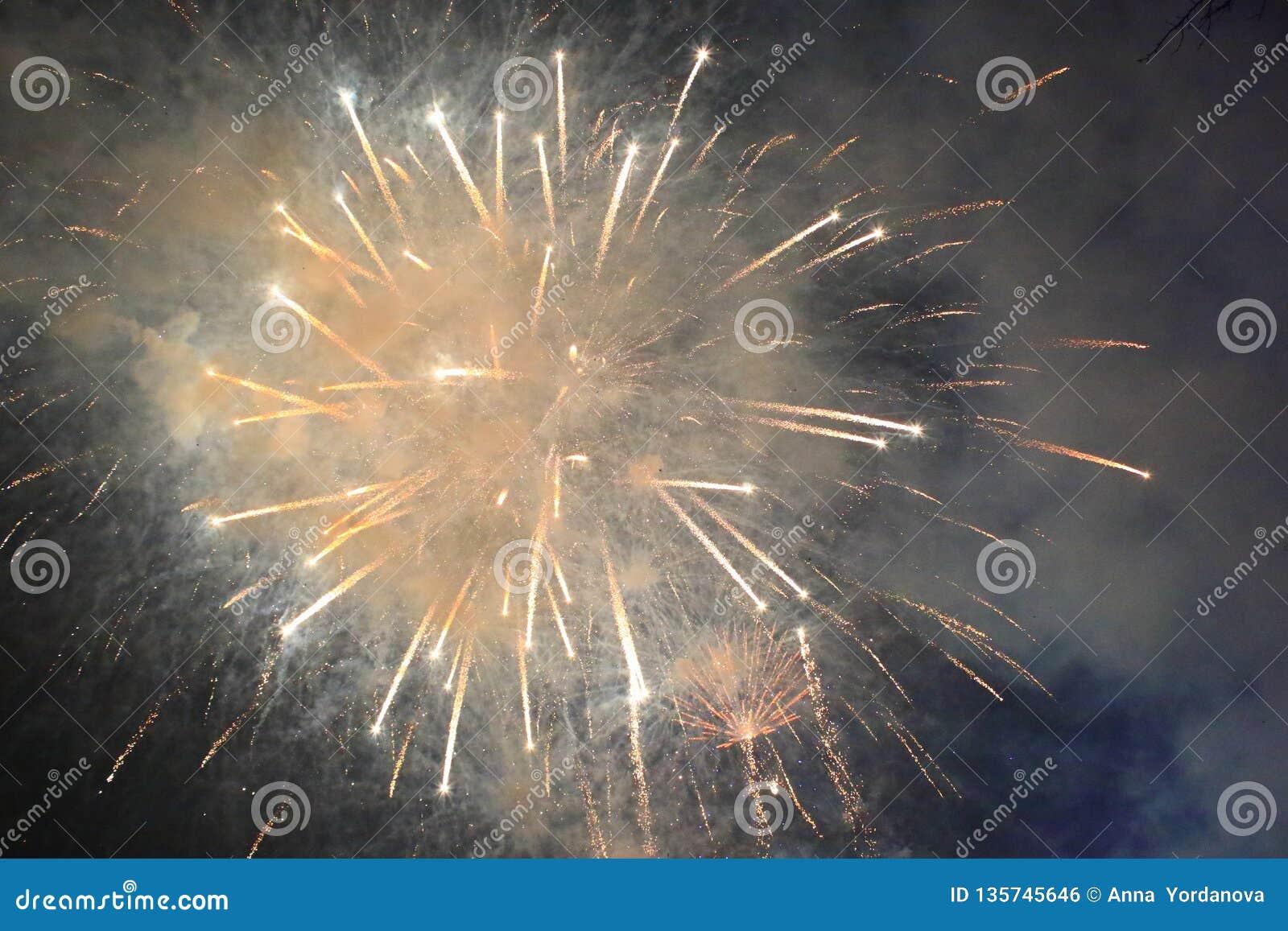 January 1st 2019 New Year Night Illuminations Varna Bulgaria Stock
