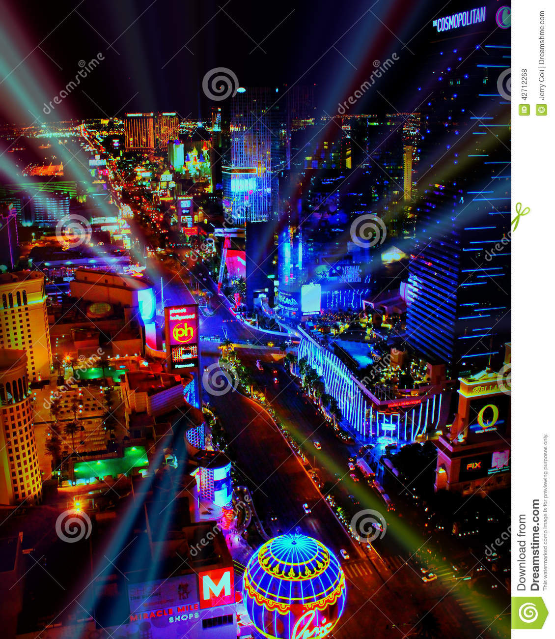 Download Bright Lights Of Las Vegas, NV. Editorial Stock Photo   Image Of  Neon