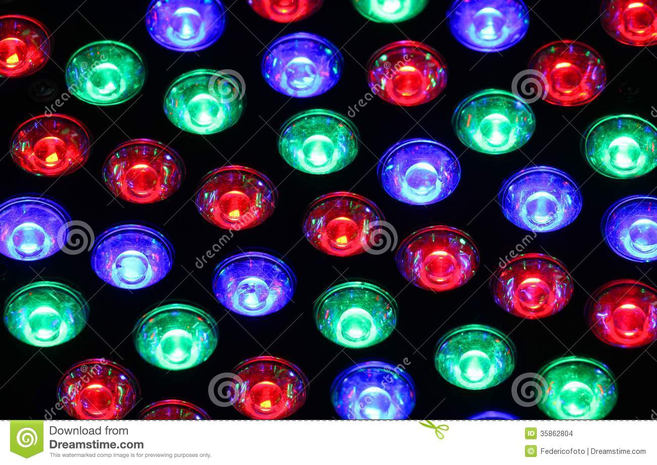 Bright Lights Of A Nightclub With Colored Bulbs Of Many ...