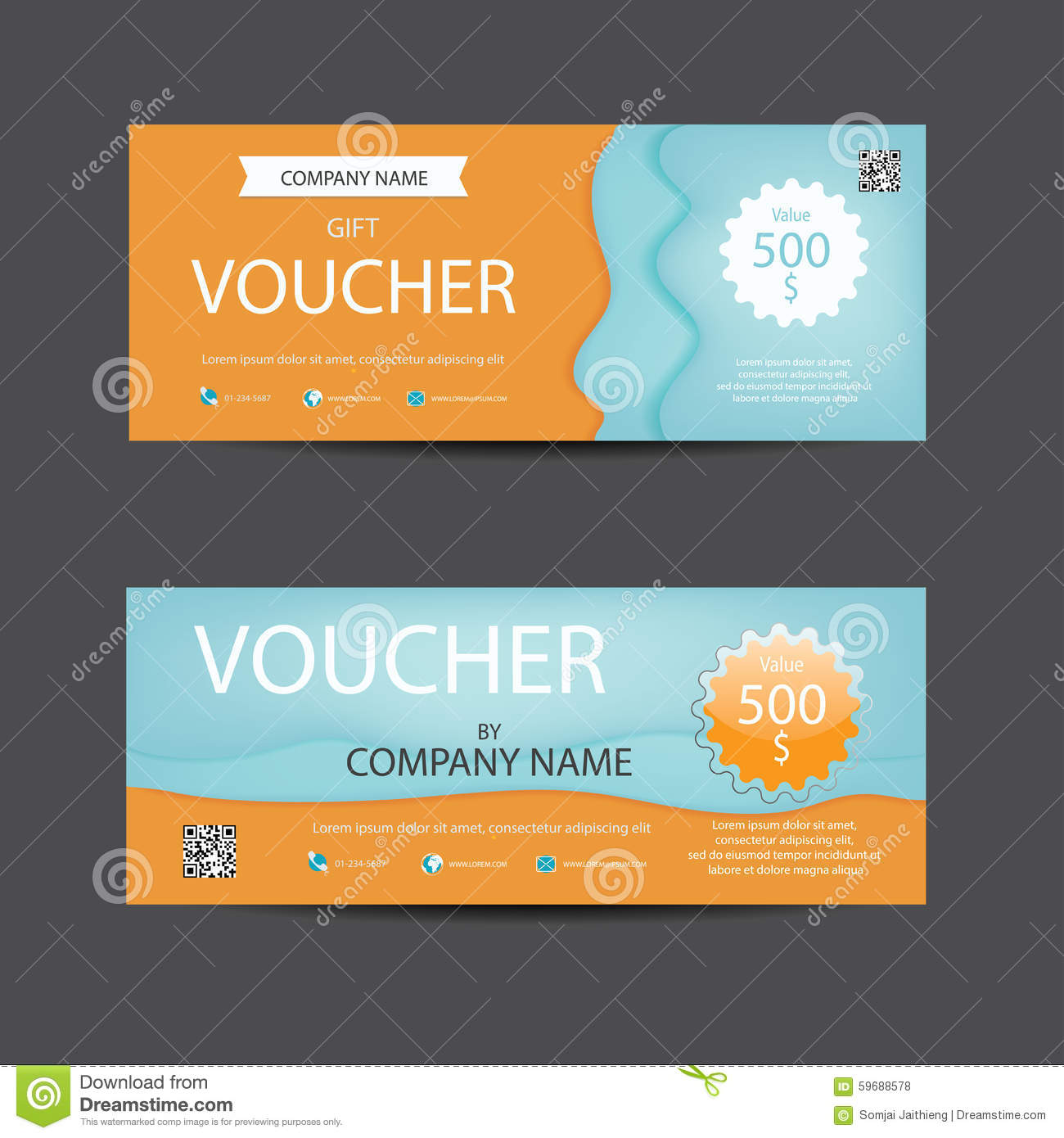 Bright Lively Orange And Blue Voucher Template Stock ...