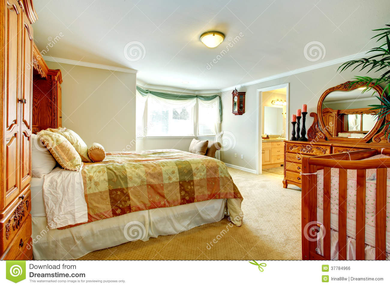 Bright living room with carved wood furniture royalty free stock image