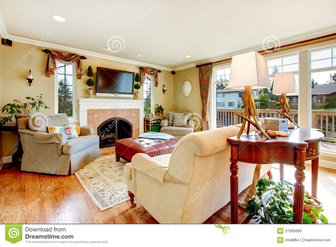 bright ceiling fireplace floor furniture hardwood living room