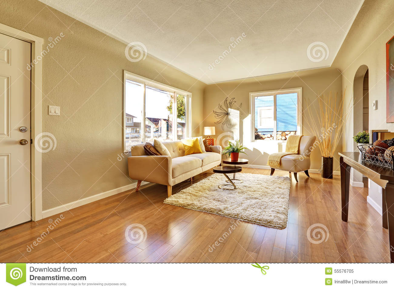bright living room with hardwood stock image image