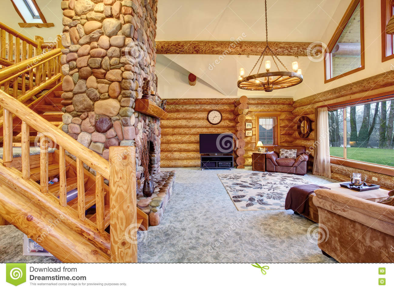 Wonderful image of Royalty Free Stock Image Kitchen Room Log Cabin House Bright Rocky  with #7F3E1D color and 1300x957 pixels