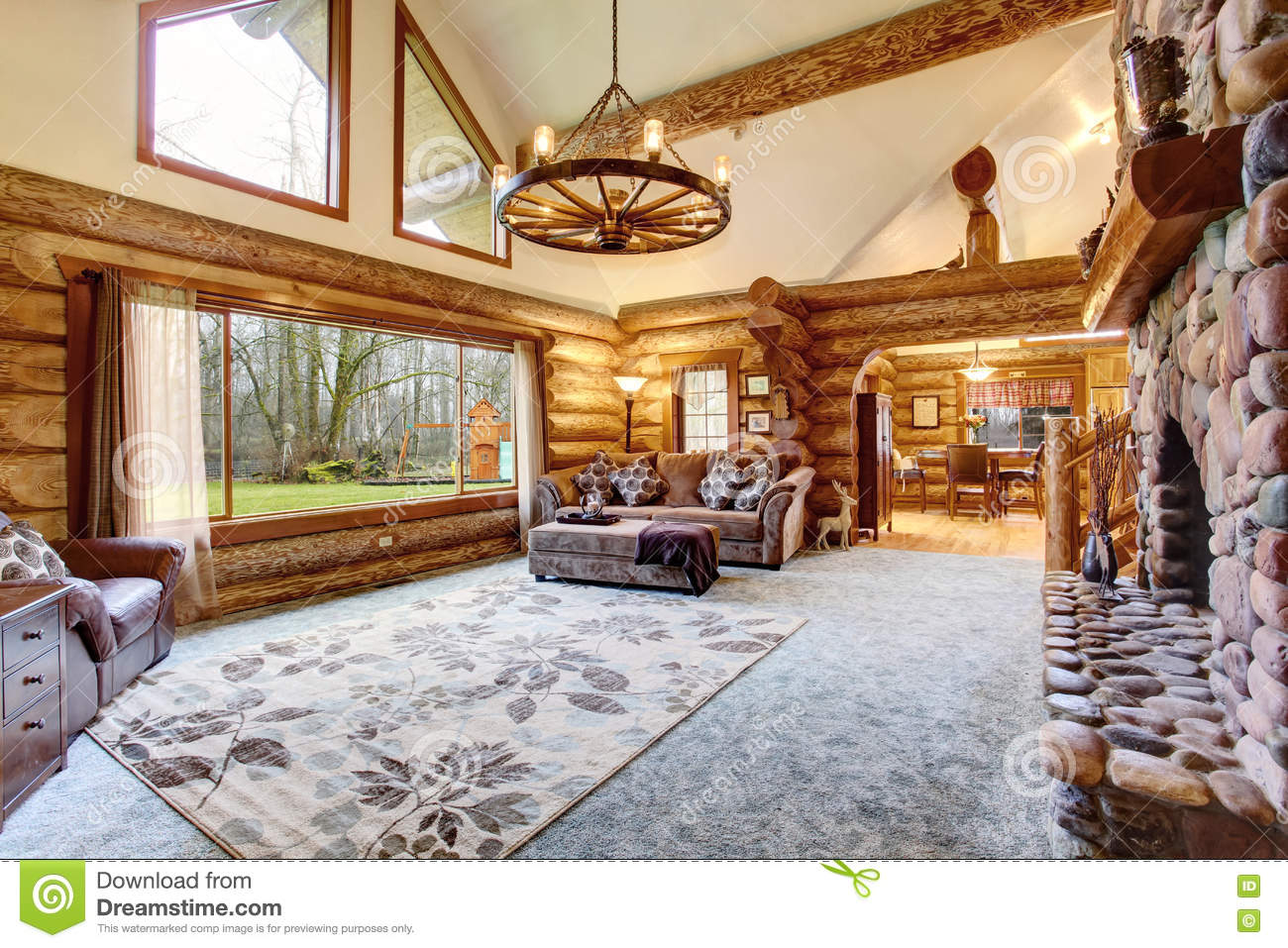 log cabin living room log cabin living room stock photography cartoondealer 12797