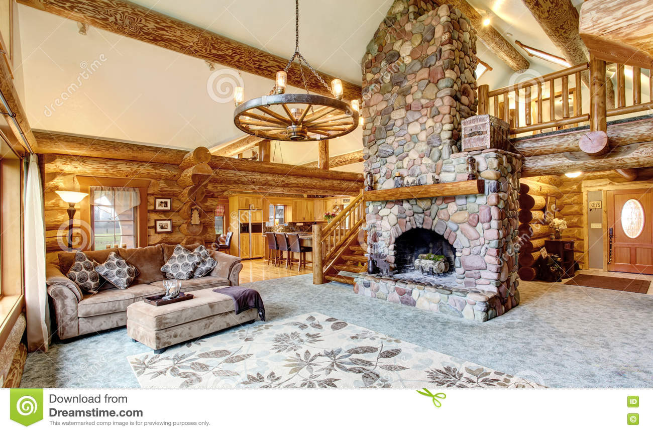 Cabin interior fireplace - Bright Living Room Interior In American Log Cabin House Royalty Free Stock Images