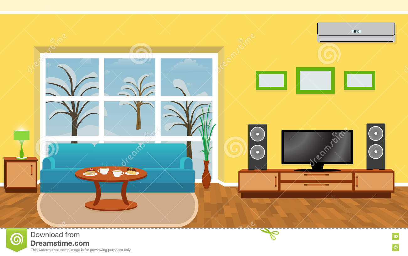 Bright Living Room Interior With Modern Furniture And