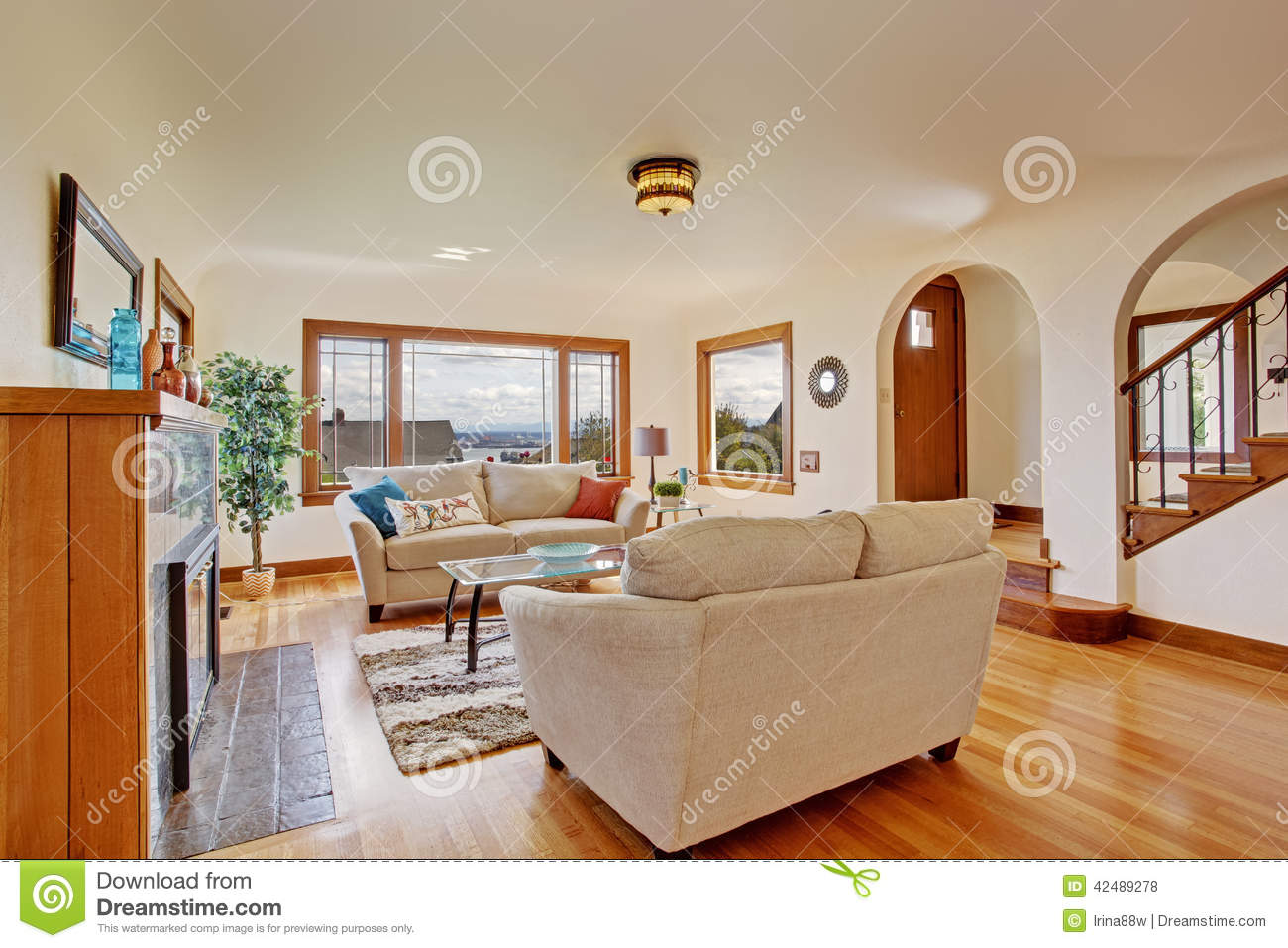 Bright living room in light ivory tones stock photo image 42489278 - Bright lamps for living room ...