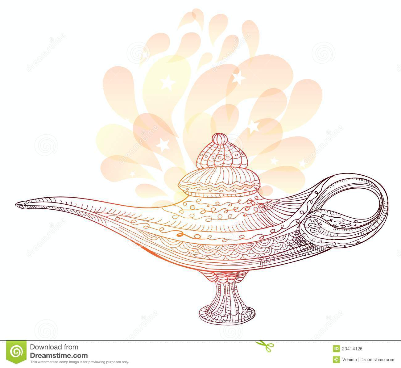 Bright magic lamp stock illustration. Illustration of fantasy ... for Magic Lamp Drawing  568zmd