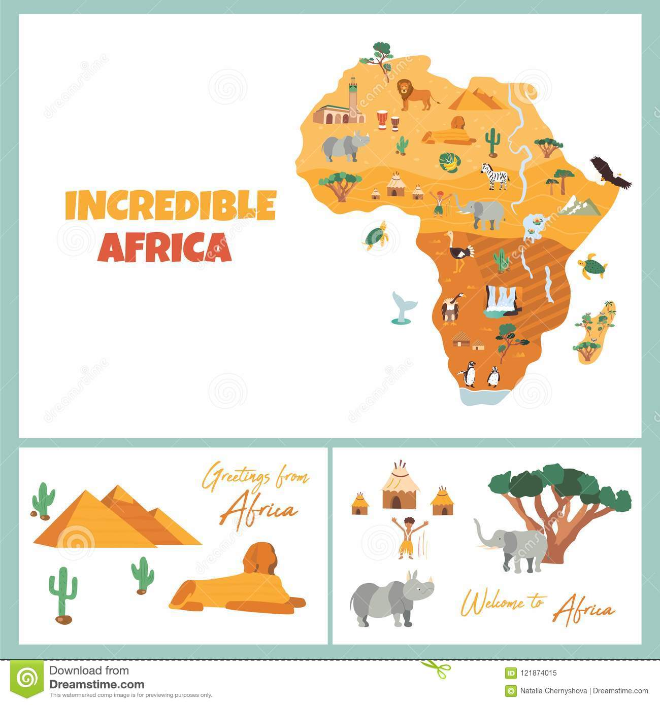 Map Of African Jungle.Bright Postcards With Map Of Africa Stock Vector Illustration Of