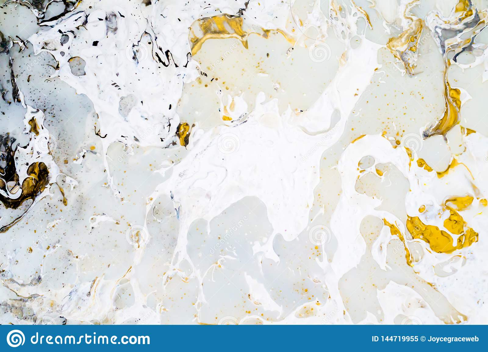 Bright marble background texture with gold, black, grey and white colors, using acrylic pouring medium art technique. Useful as a