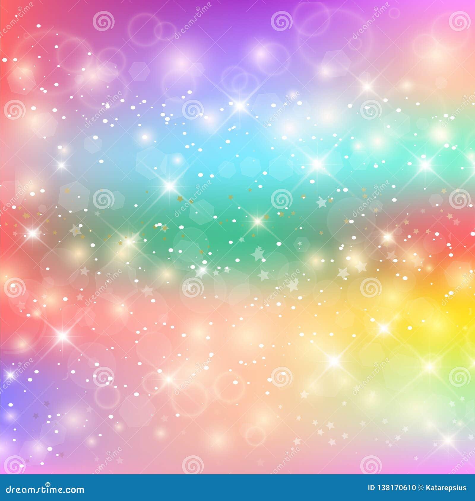 Kawaii Baby Unicorn Background With Glowing Stars Stock ...