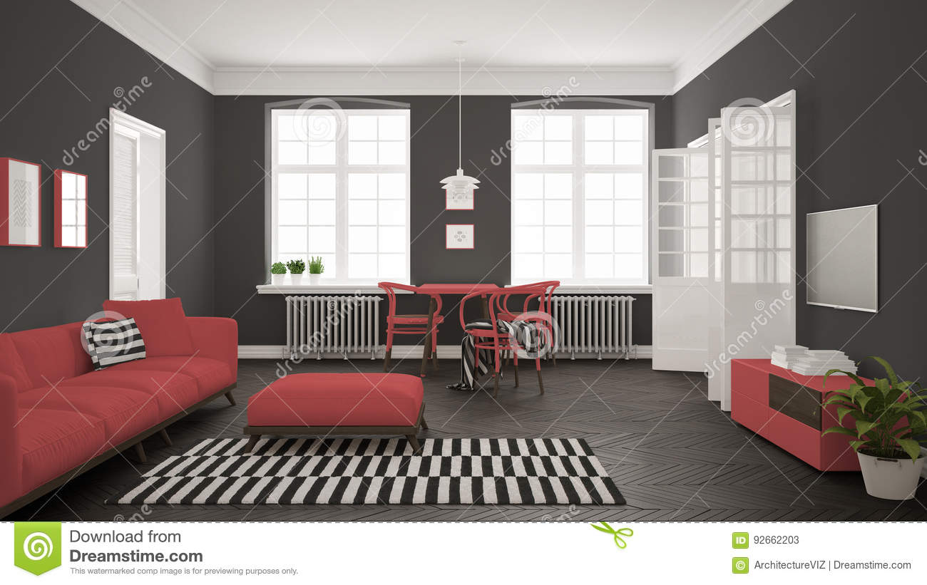 Bright Minimalist Living Room With Sofa And Dining Table Scandinavian White And Red Interior Design Stock Illustration Illustration Of Bright Furniture 92662203
