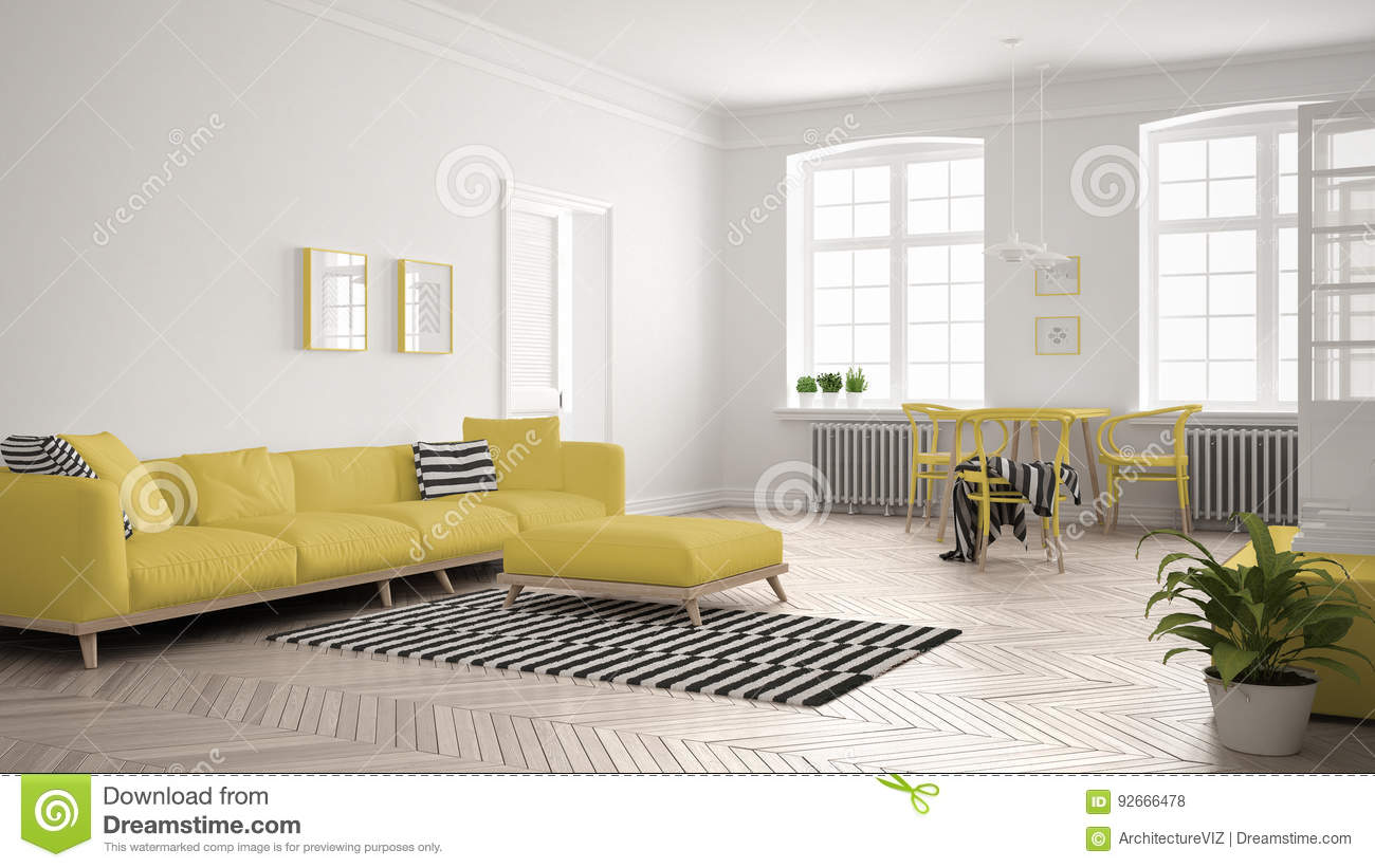 Bright minimalist living room with sofa and dining table for White minimalist living room