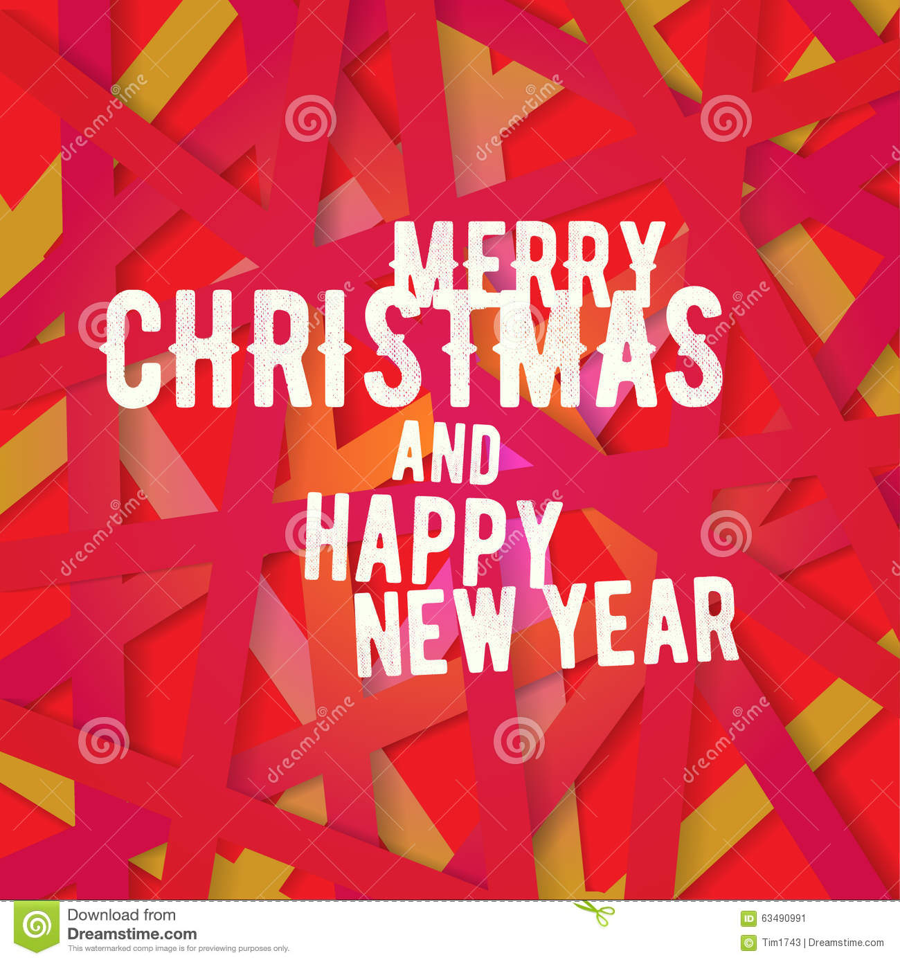 bright modern christmas greeting card with happy new year wish