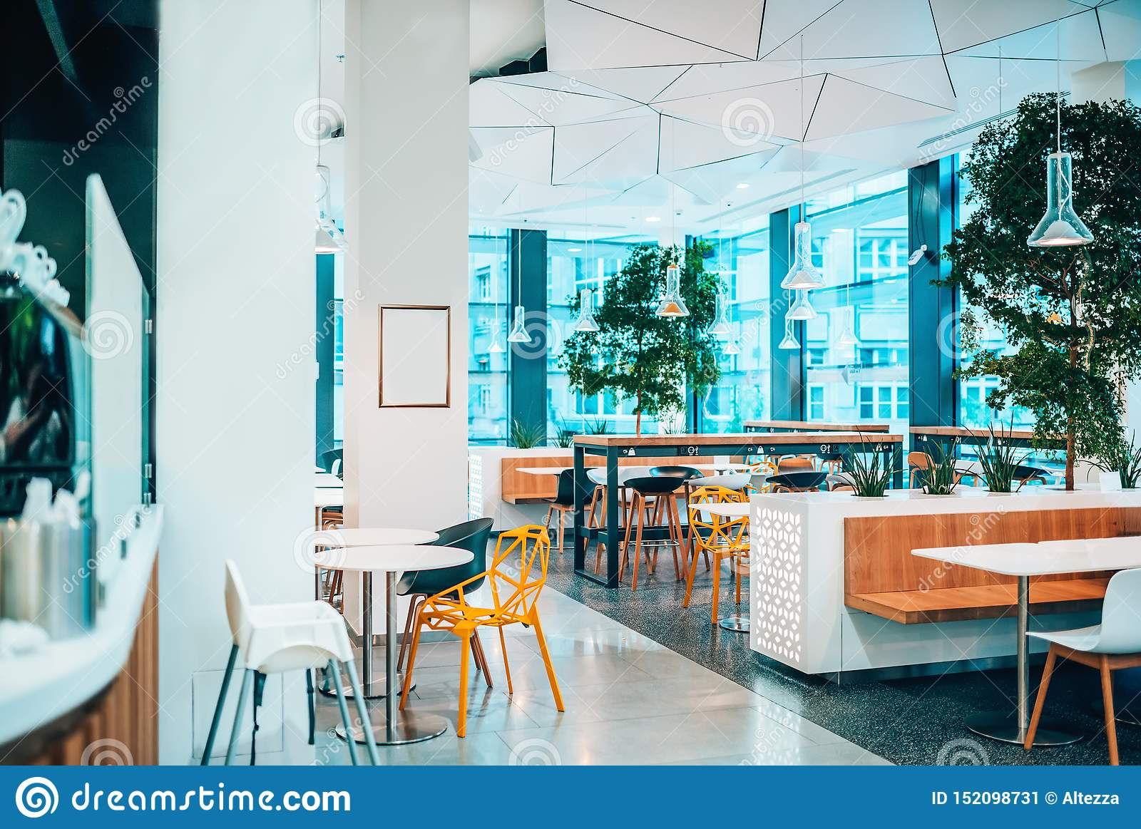 Bright And Modern Interior Of Cafe Restaurant With Copy Space Stock Image Image Of Republic Windows 152098731