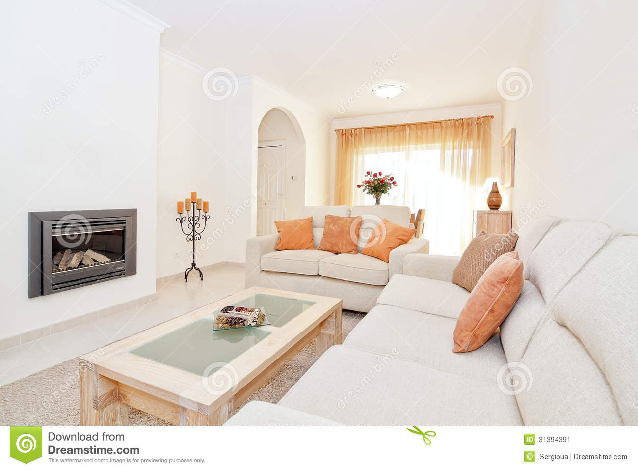 Bright modern living room with a fireplace for heating stock image image 31394391 - Contemporary fireplace insert for a warm living room ...