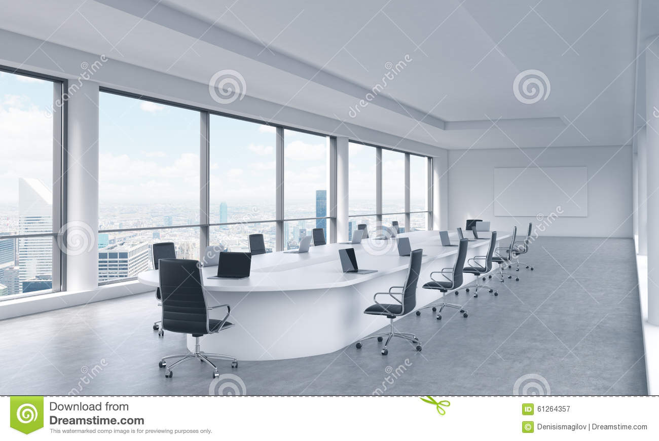 A bright modern panoramic meeting room in a modern office for New office design concept