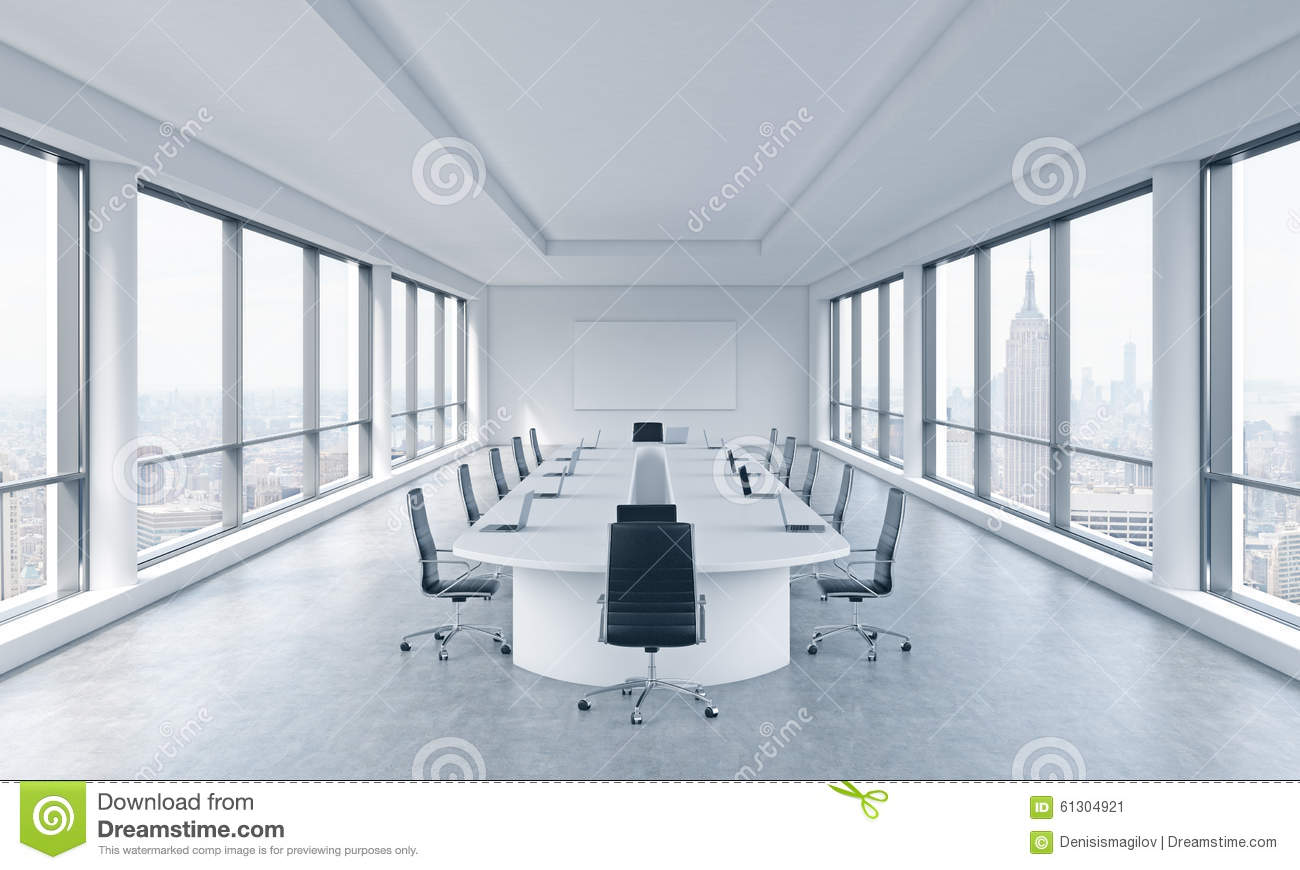 A bright modern panoramic meeting room in a modern office with New York city view. The concept of the meeting of the Board of Dire