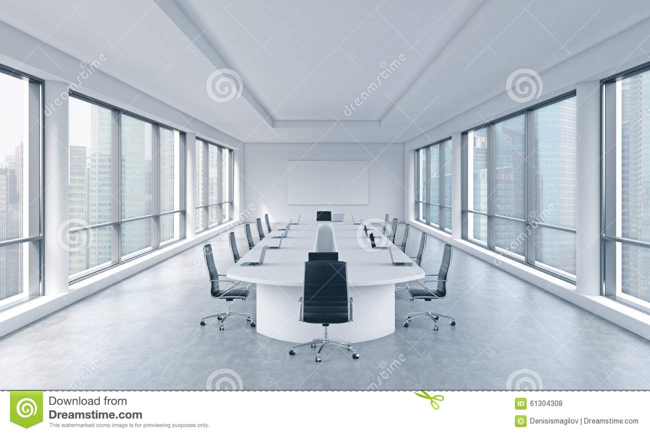 A bright modern panoramic meeting room in a modern office with Singapore view. The concept of the meeting of the Board of Director