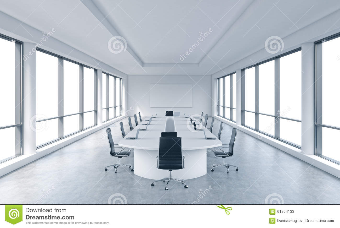 A bright modern panoramic meeting room in a modern office with white copy space in windows.