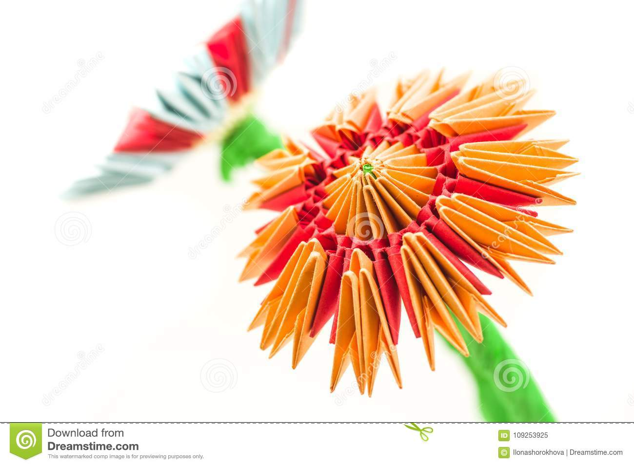 Bright modular origami orange and red flower isolated on white download bright modular origami orange and red flower isolated on white background stock image image mightylinksfo