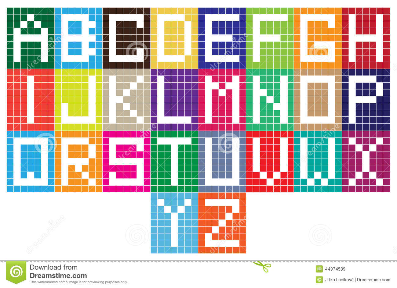 bright mosaic tiles alphabet letters stock illustration