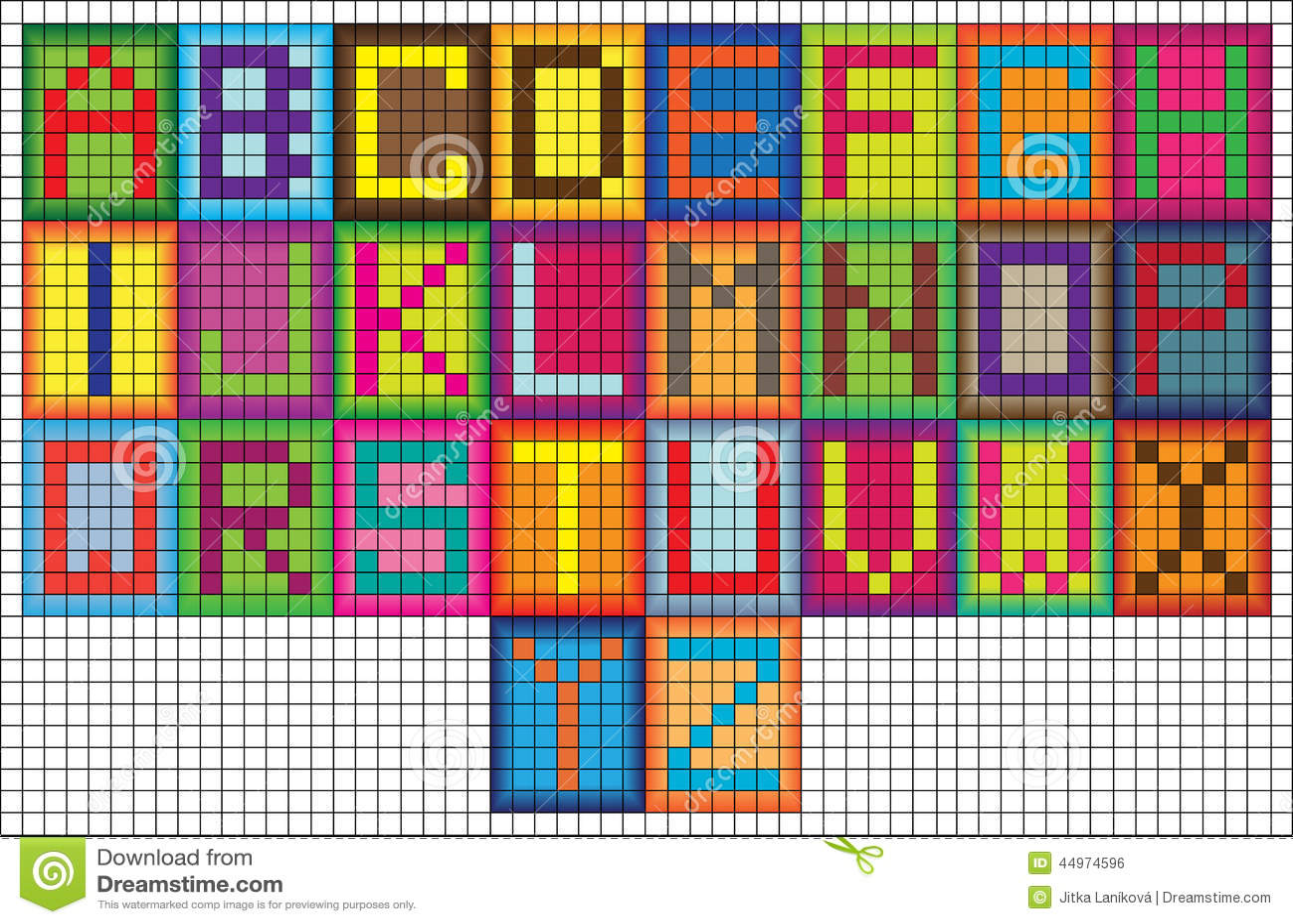 Bright Mosaic Tiles Alphabet Letters Stock Illustration