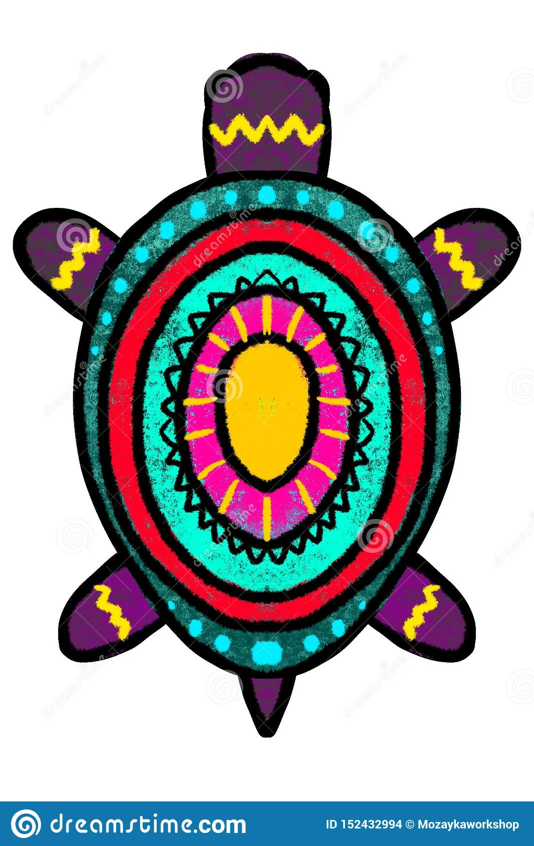 Bright multi-colored turtle, a tortoise painted in African style- illustration