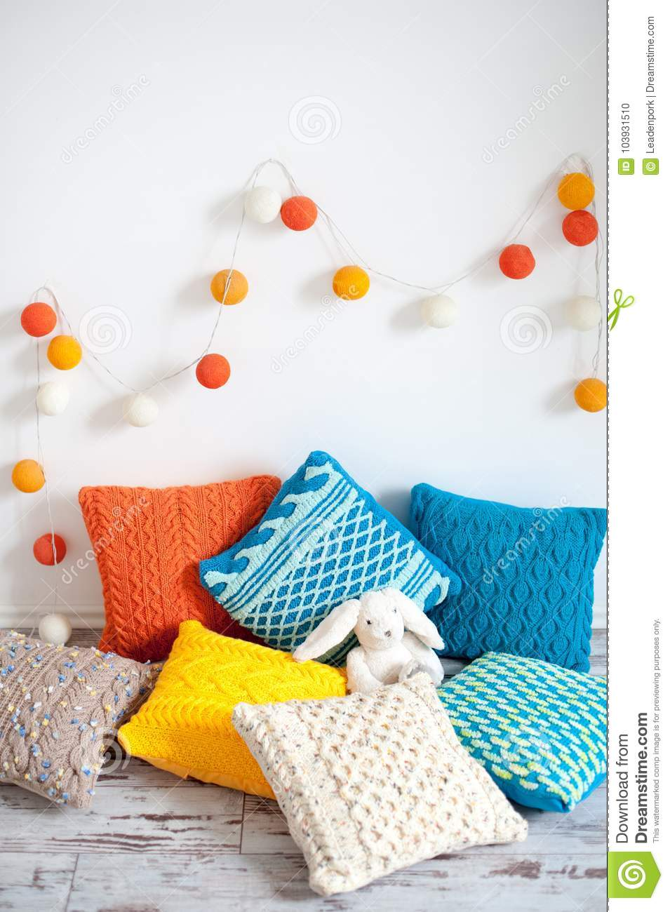 Bright Multicolored Knitted Cushions Stock Photo - Image of design ...
