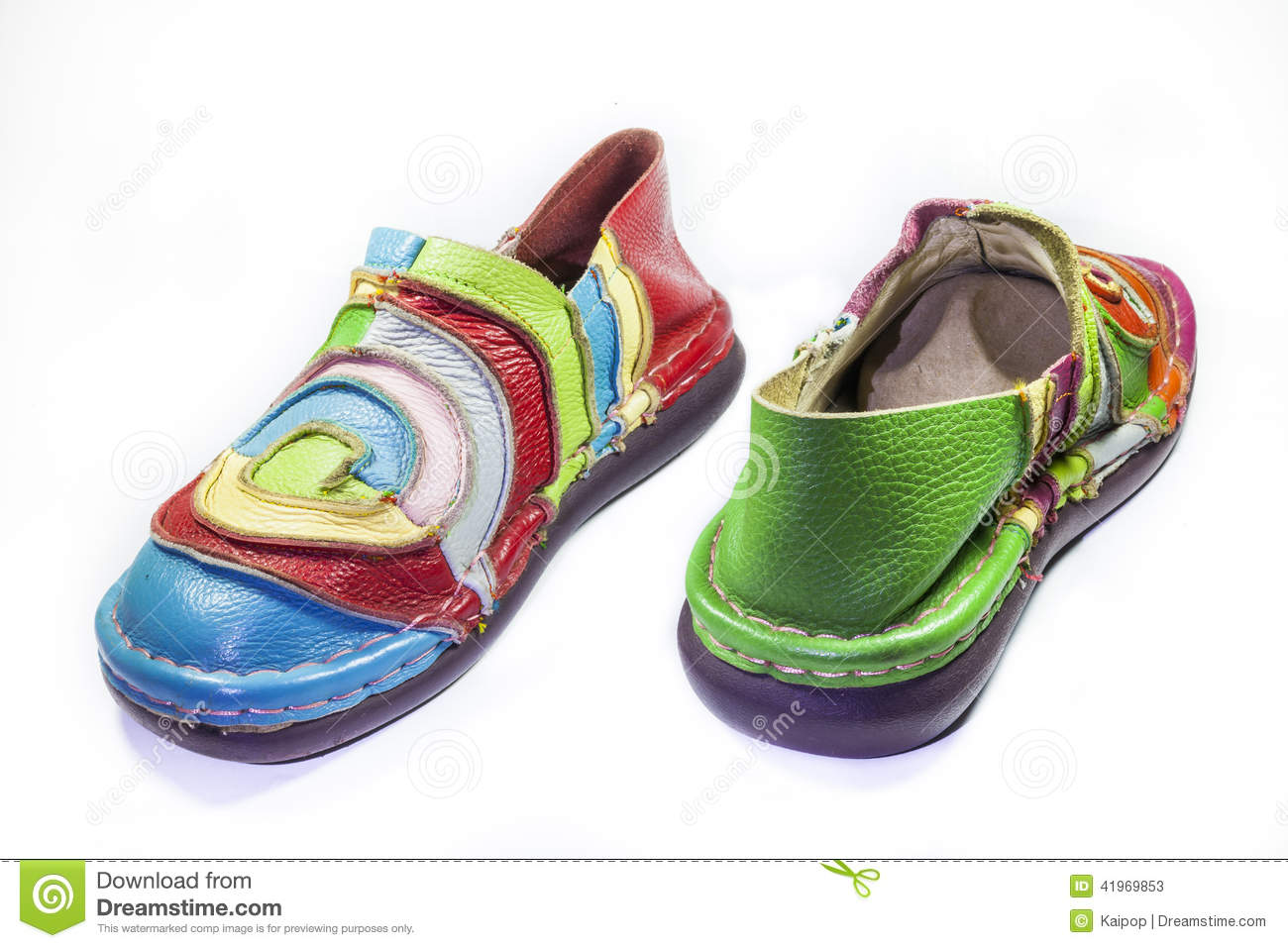 Bright Multicolored Leather Shoes Stock Image - Image of fall, heap ...