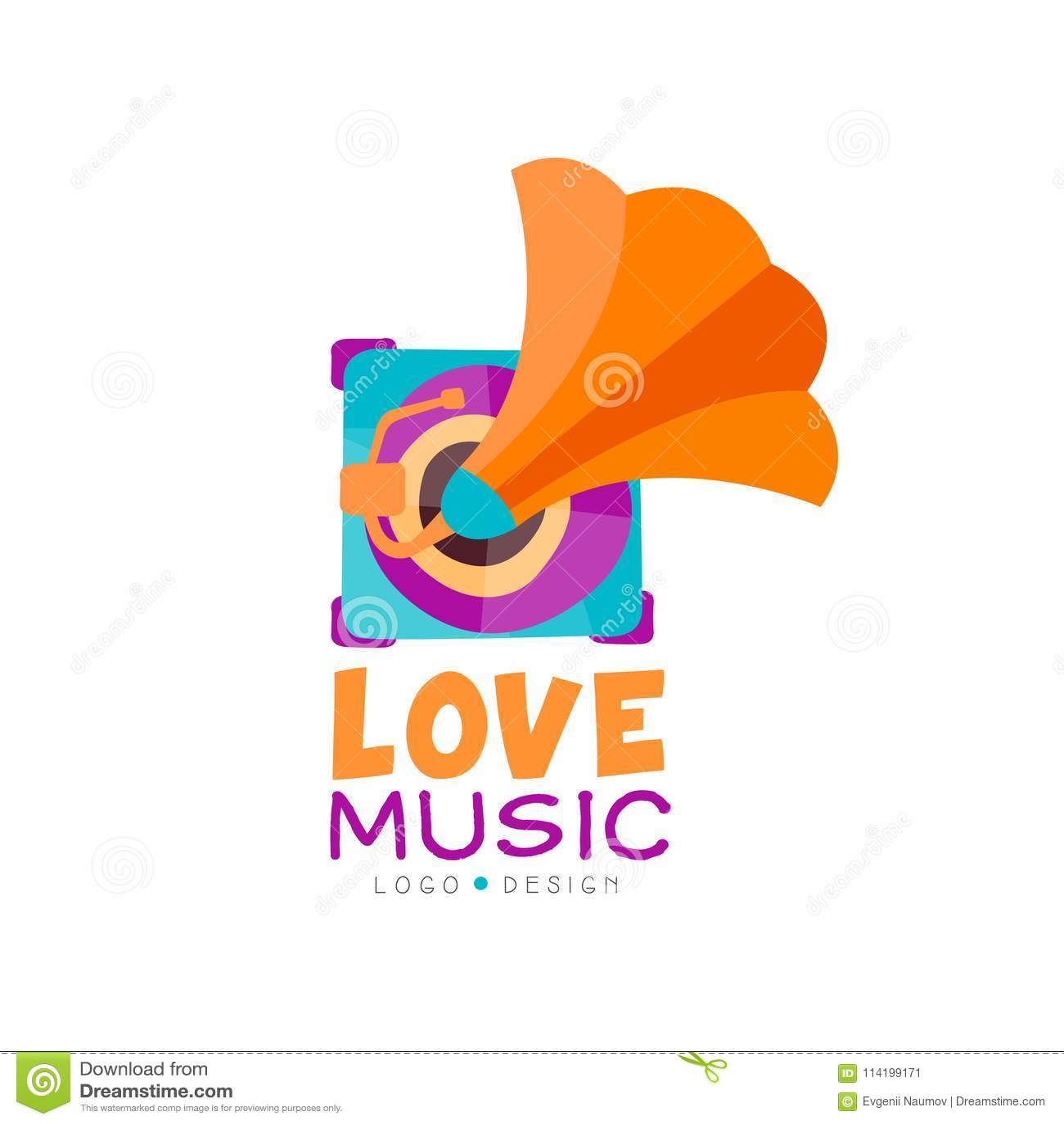 Bright Music Logo With Gramophone  Old School Vinyl Recorder