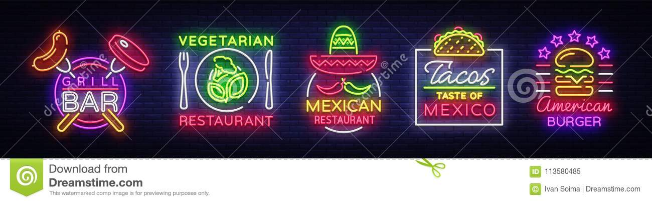 Bright Neon Symbols For Food Collection Design Elements Neon Signs
