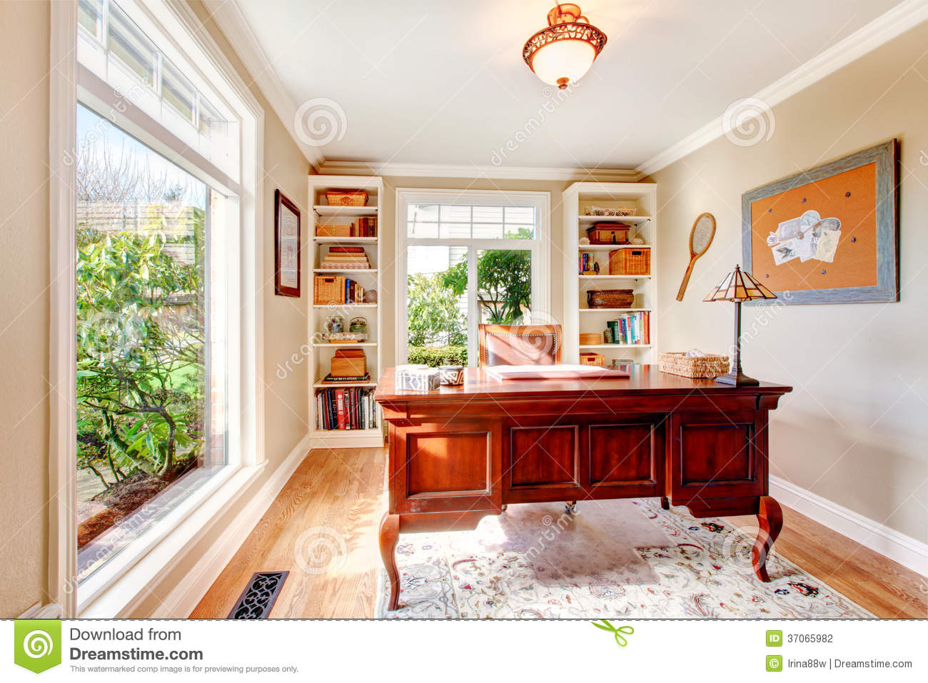 Bright Office Room With Classic Desk And Built-in Shelves ...