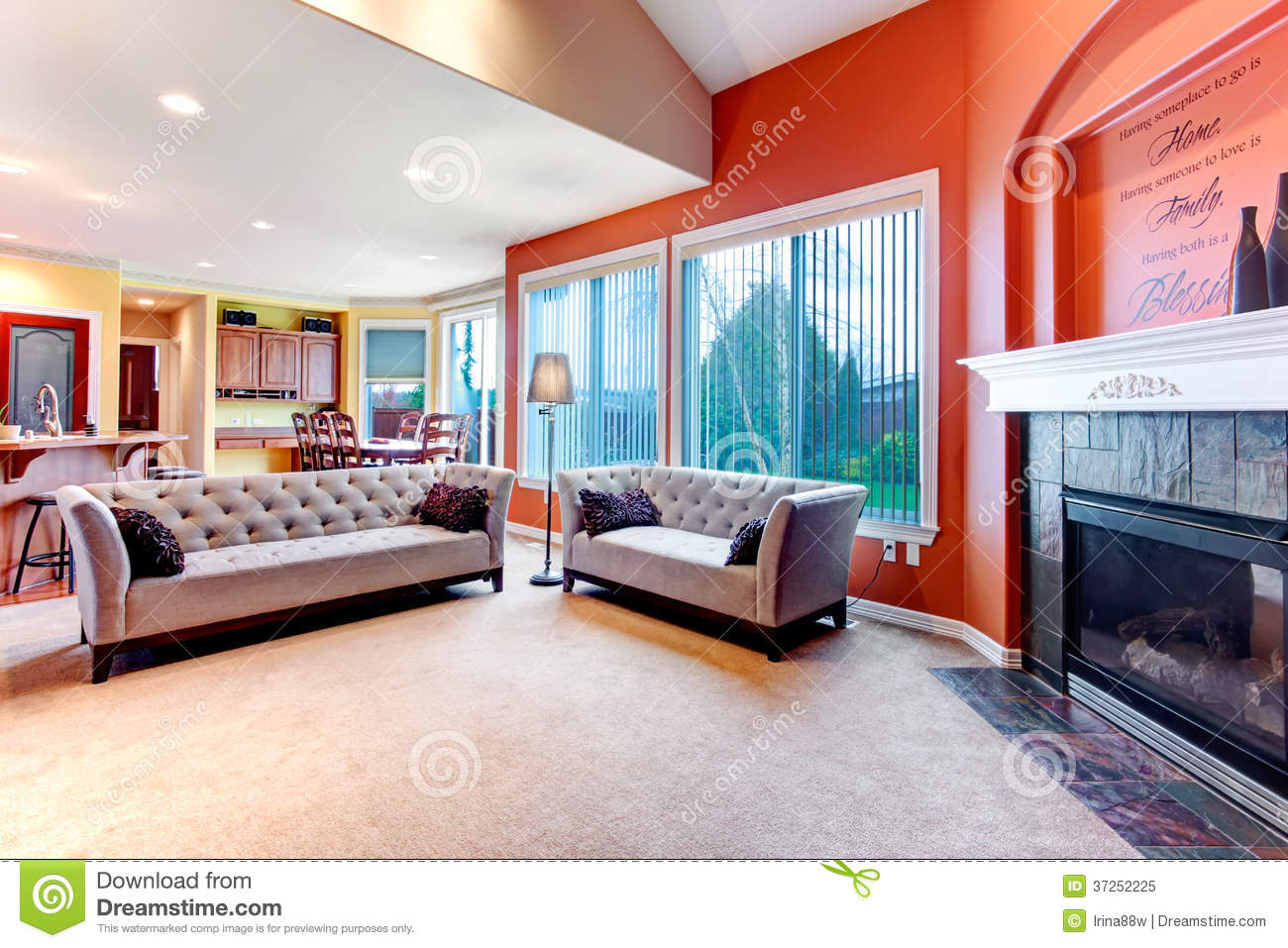 Bright Orange Color Scheme For Living Room Stock Image ...