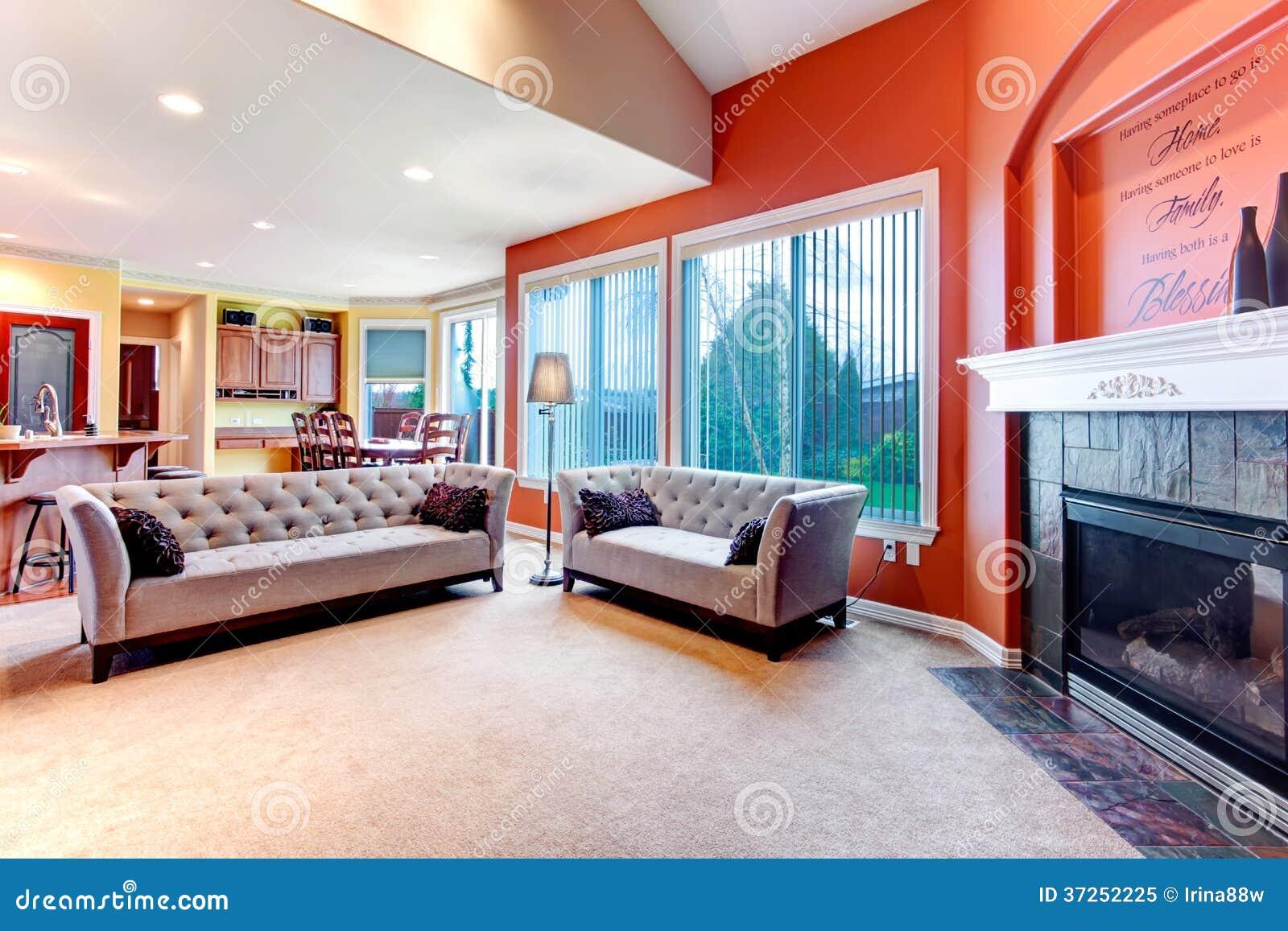 bright orange color scheme for living room royalty free