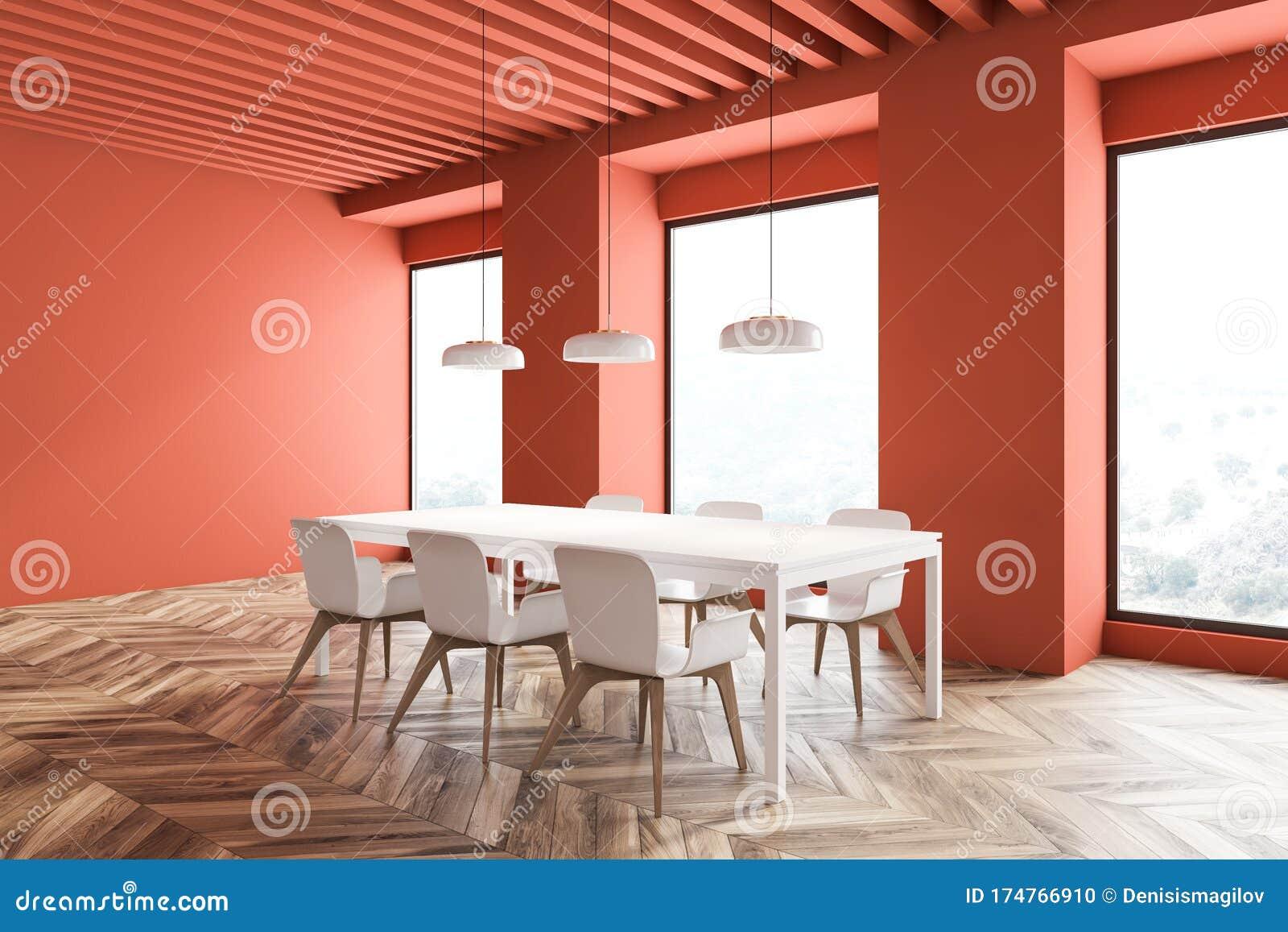 Bright Orange Dining Room Interior Stock Illustration Illustration Of Light Decor 174766910