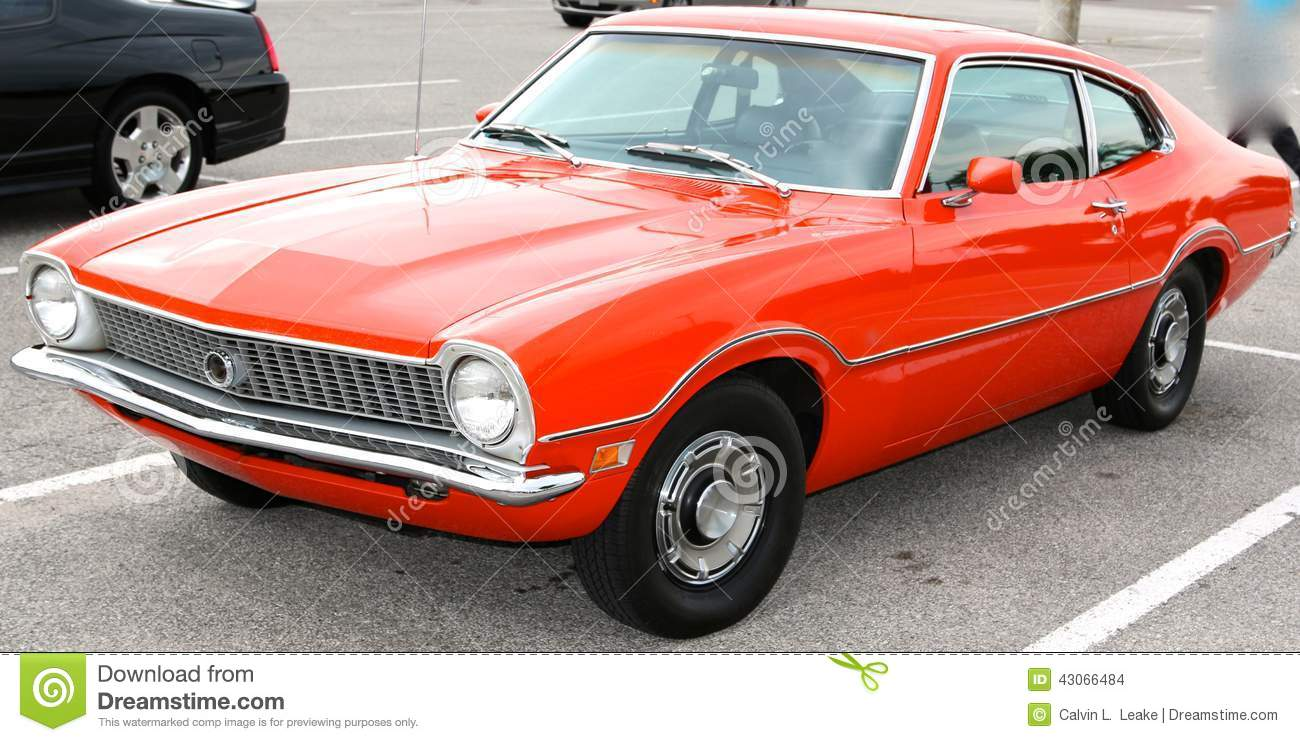bright-orange-ford-maverick-antique-car-