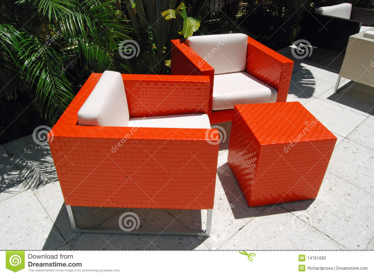 Bright Orange Patio Chairs & Bright Orange Patio Chairs stock image. Image of outdoors - 14761083