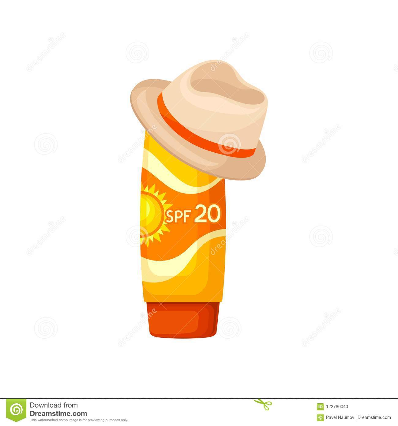 Bright Orange Plastic Tube Of Sunscreen And Brown Hat