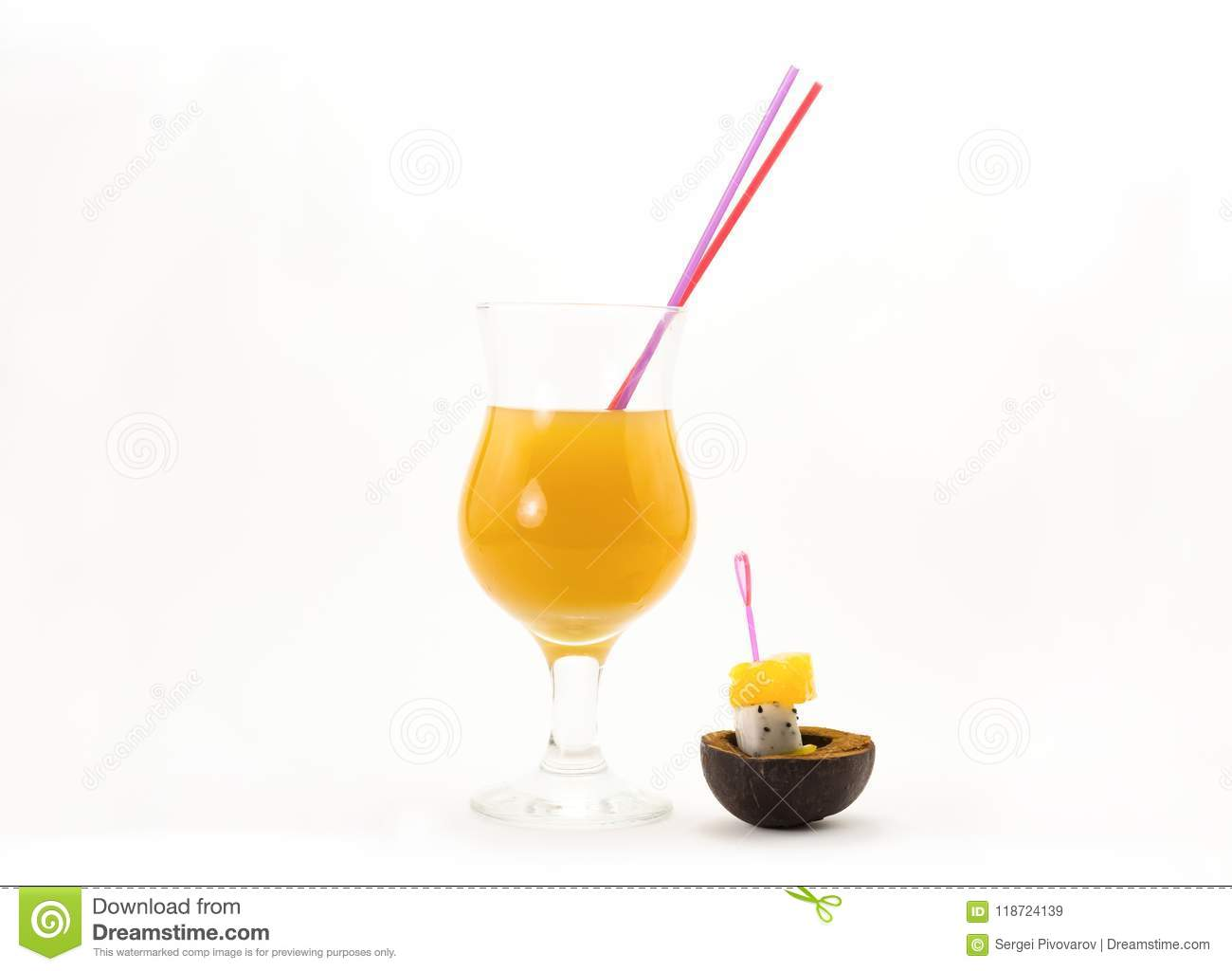 Bright Orange Sunny Cocktail Tube And Two Exotic Fruit And Yellow Melon On Skewers Pitah Eco
